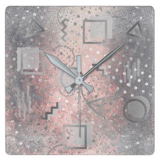 Avantgarde Retro Zig Zag Dots Silver Grungy Pink Wall Clocks