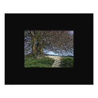 Avebury, Wiltshire, England. Tree and path. Flyer