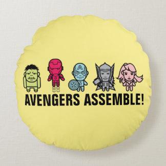 Avengers Assemble - Stylized Line Art Round Cushion