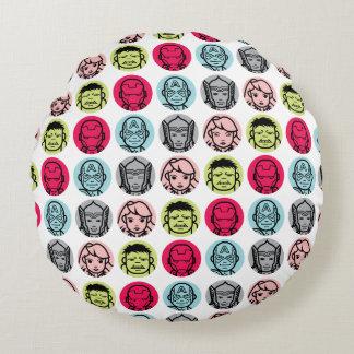 Avengers Stylized Line Art Icons Pattern Round Cushion