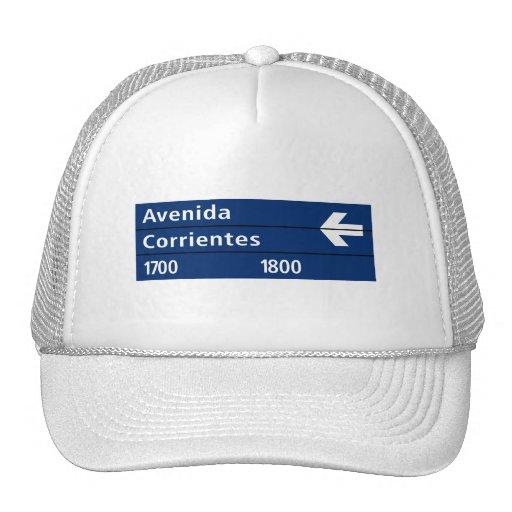 Avenida Corrientes, Buenos Aires Street Sign Mesh Hats