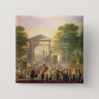 Avenue before the Botanical Gardens in Madrid, 178 15 Cm Square Badge