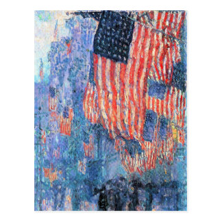 Avenue in the Rain by Childe Hassam, Vintage Art Postcard