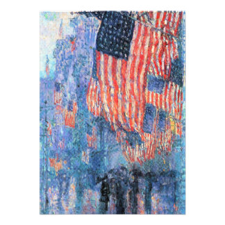 Avenue in the Rain Hassam Vintage Impressionism Custom Invites
