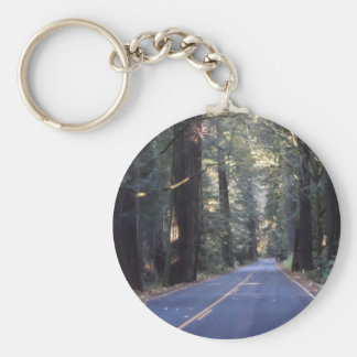 Avenue of the Giants- Humboldt Redwoods State Park Basic Round Button Key Ring