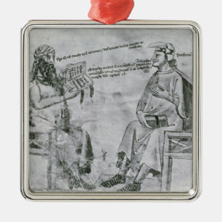 Averroes  in Conversation with Porphyry Silver-Colored Square Decoration