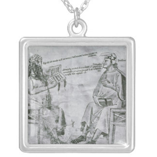 Averroes  in Conversation with Porphyry Square Pendant Necklace