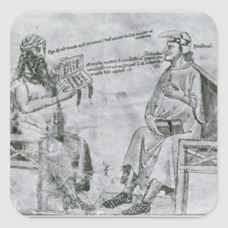 Averroes  in Conversation with Porphyry Square Sticker