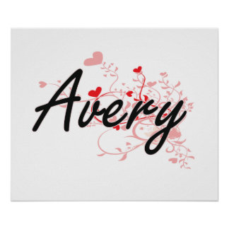 Avery Artistic Name Design with Hearts Poster