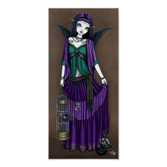 """Avery"" Gothic Angel Bird Cage Poster"