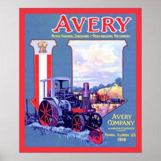 Avery Motor-Farming~ Threshing & Road Building Poster