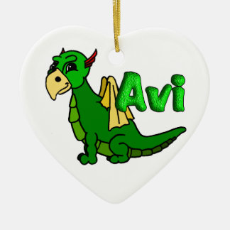 Avi (with name) ceramic heart decoration