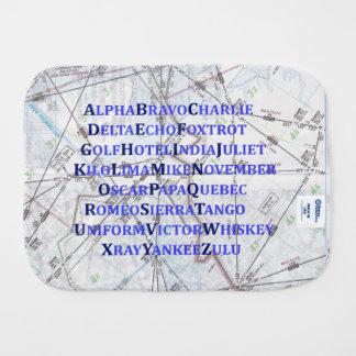 Aviation Baby, Blue Phonetic Alphabet Burp Cloth