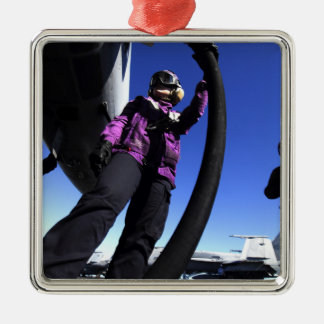 Aviation Boatswain's Mate Airman fuels an aircr Christmas Ornament
