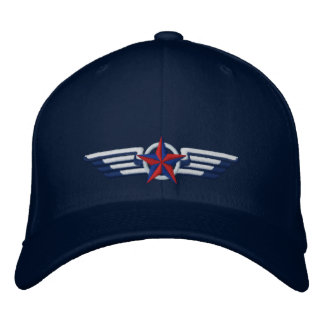 Aviation Embroidered Star Badge Pilot Wings Baseball Cap