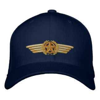 Aviation Embroidered Star Laurels Pilot Wings Embroidered Hat