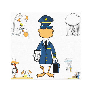 Aviation Humour Cartoon Duck Canvas Stretched Canvas Print