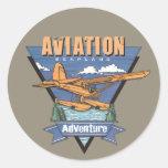 Aviation Seaplane Adventure Round Stickers