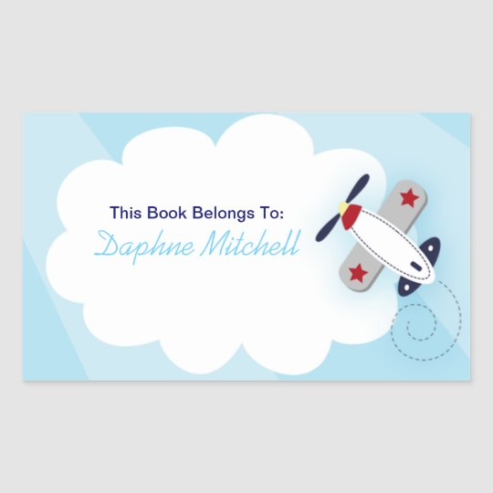 Aviator Aeroplane Custom Book Plate Sticker