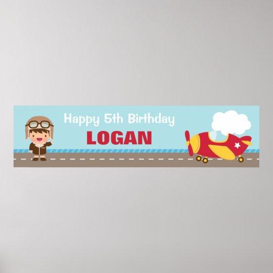 Aviator Boy Aeroplane Birthday Party Banner Poster