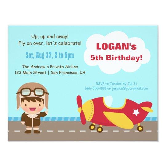 Aviator Boy Aeroplane Birthday Party Invitations