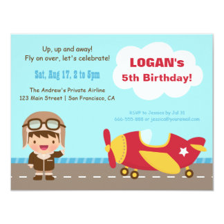 Aviator Boy Airplane Birthday Party Invitations