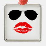 Aviator Glasses and Lipstick Kiss Christmas Ornaments