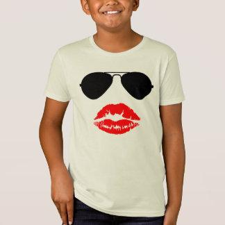 Aviator Glasses and Lipstick Kiss T-Shirt