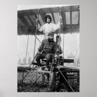 Aviator Henri Farman and Wife early 1900s Posters