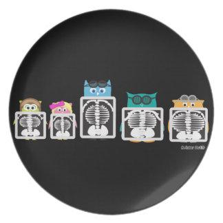 Aviator Owl XRay Dinner Plates