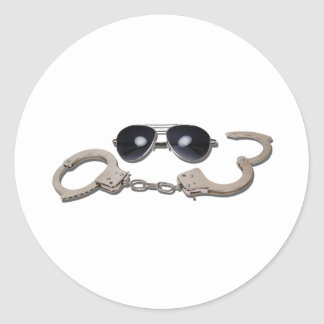 AviatorGlassessHandcuffs103110 Round Sticker