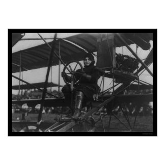 Aviatrix Blanche Scott in an Airplane 1910 Poster