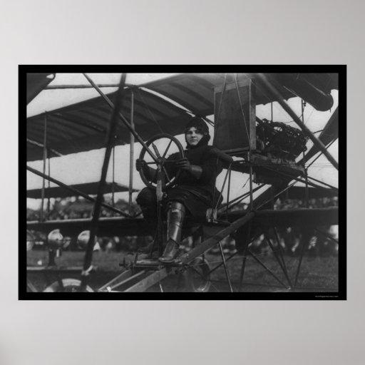 Aviatrix Blanche Scott in an Airplane 1910 Posters