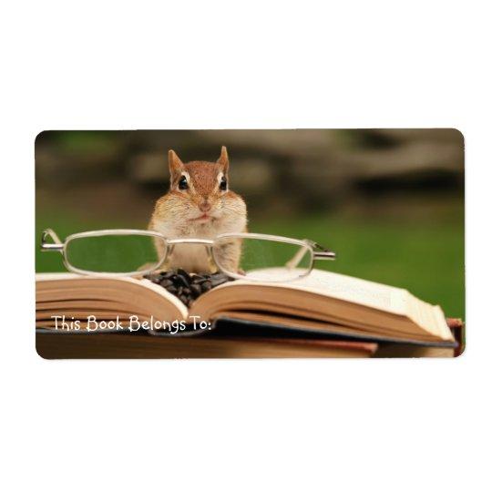 Avid reader chipmunk bookplate shipping label