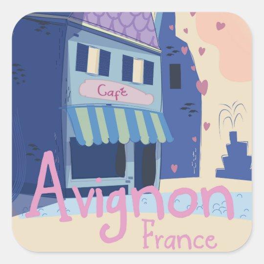 Avignon France cartoon travel poster Square Sticker