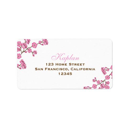 Avital Brown Pink Flowers Address Label