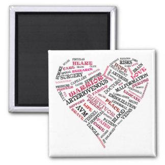 AVM Awareness Word Soup Heart Magnet