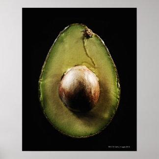 Avocado,Fruit,Black background Poster