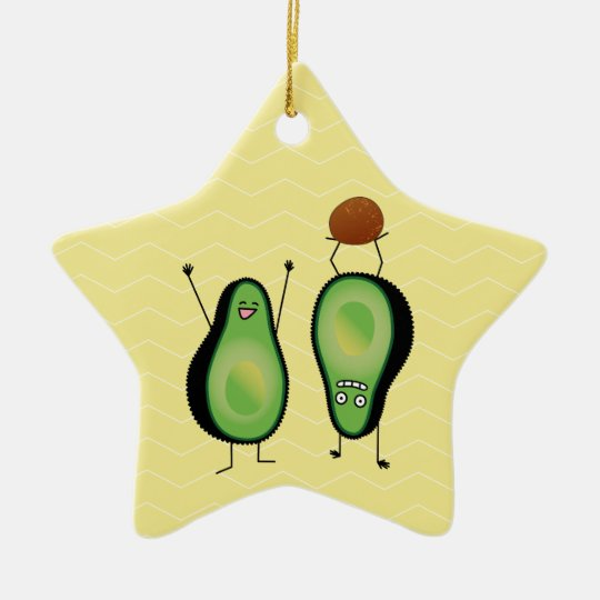 Avocado funny cheering handstand green pit christmas ornament
