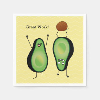 Avocado funny cheering handstand green pit paper napkin