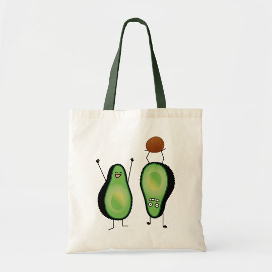 Avocado funny cheering handstand green pit tote bag