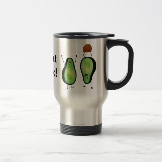 Avocado funny cheering handstand green pit travel mug
