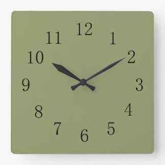 Avocado Green Square Wall Clock