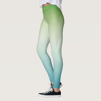 Avocado Green Turquoise Blue Fade Leggings