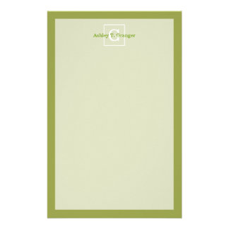 Avocado Green White Framed Initial Monogram Customised Stationery