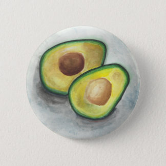 Avocado in Watercolor 6 Cm Round Badge