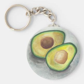 Avocado in Watercolor Key Ring