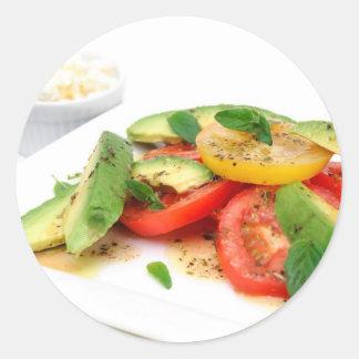 Avocado Salad And Olives Round Sticker