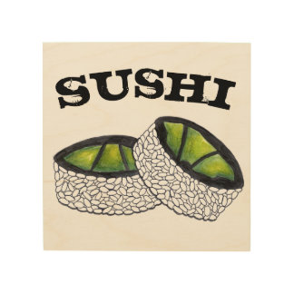 Avocado Sushi Roll Japanese Restaurant Food Foodie Wood Print