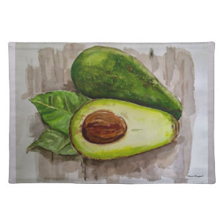 Avocado Watercolor Art Cloth Place Mat